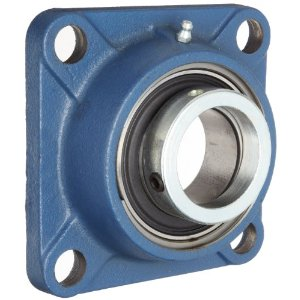 SF15EC   RHP Four Bolt Cast Iron 15mm Bore Square Flanged Flat Back Insert Housed Unit with Eccentric Collar